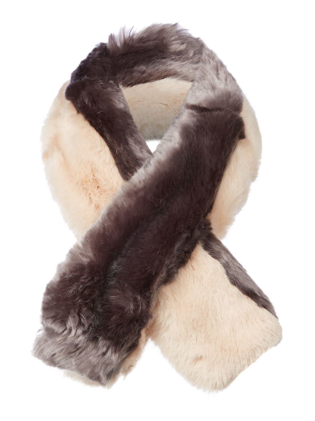 Wyn Double Stripe Faux Fur Scarf, Purple - secondary colour: ivory/cream; predominant colour: purple; occasions: casual, creative work; type of pattern: light; size: standard; material: fur; pattern: plain; style: stole; season: a/w 2016; wardrobe: highlight