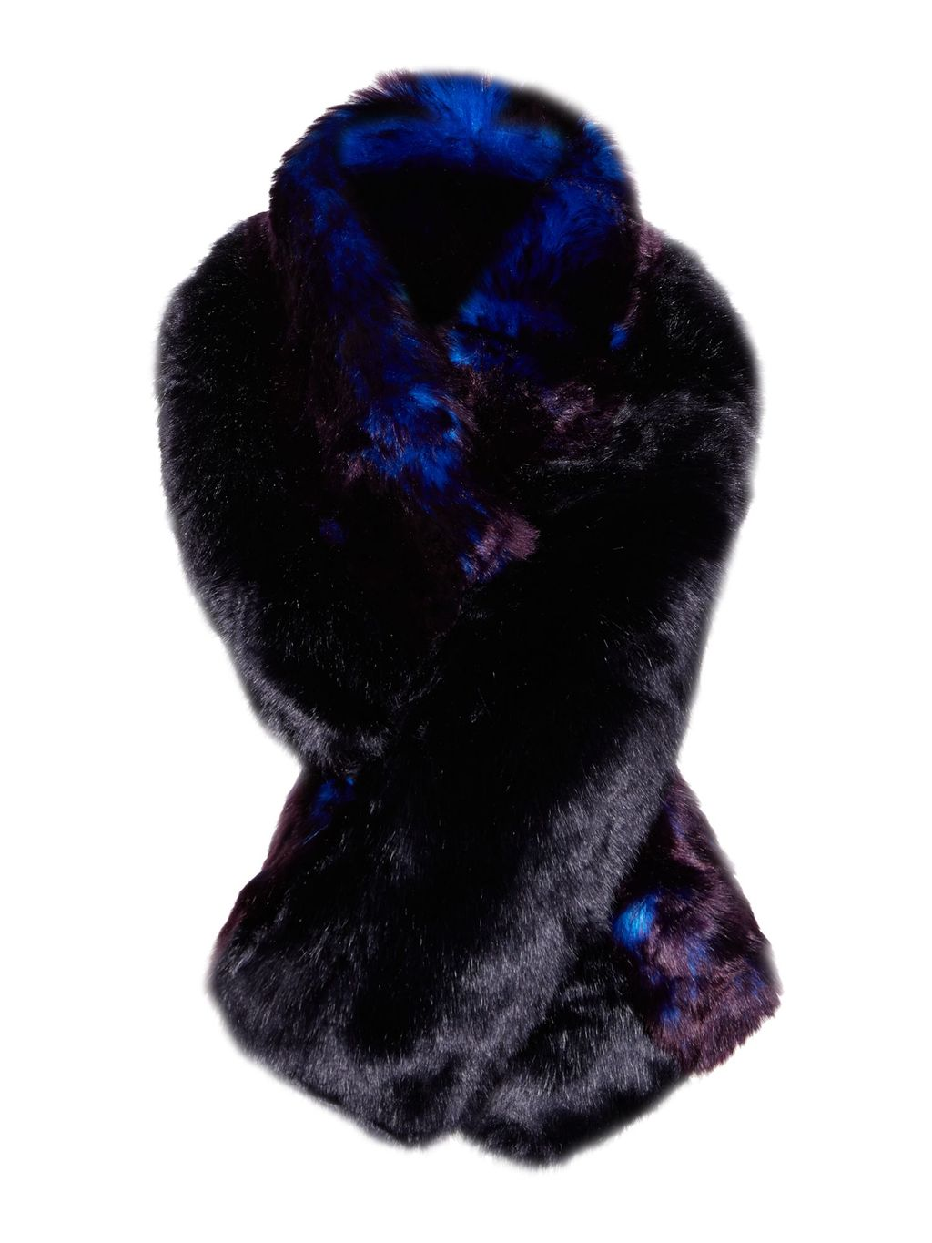 Wyn Double Stripe Faux Fur Scarf, Blue - predominant colour: navy; occasions: casual, creative work; type of pattern: standard; style: regular; size: standard; material: fur; pattern: plain; season: a/w 2016