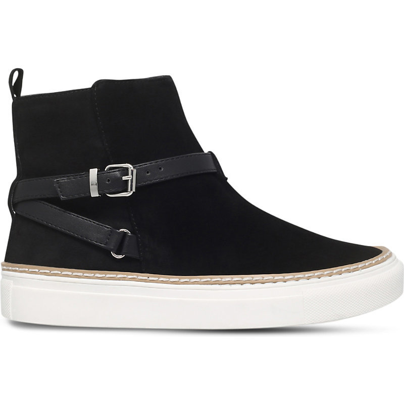 Luna Suede High Top Trainers, Women's, Eur 37 / 4 Uk Women, Black - secondary colour: white; predominant colour: black; occasions: casual; material: suede; heel height: flat; embellishment: buckles; heel: block; toe: round toe; boot length: ankle boot; style: high top; finish: plain; pattern: plain; shoe detail: platform; season: a/w 2016