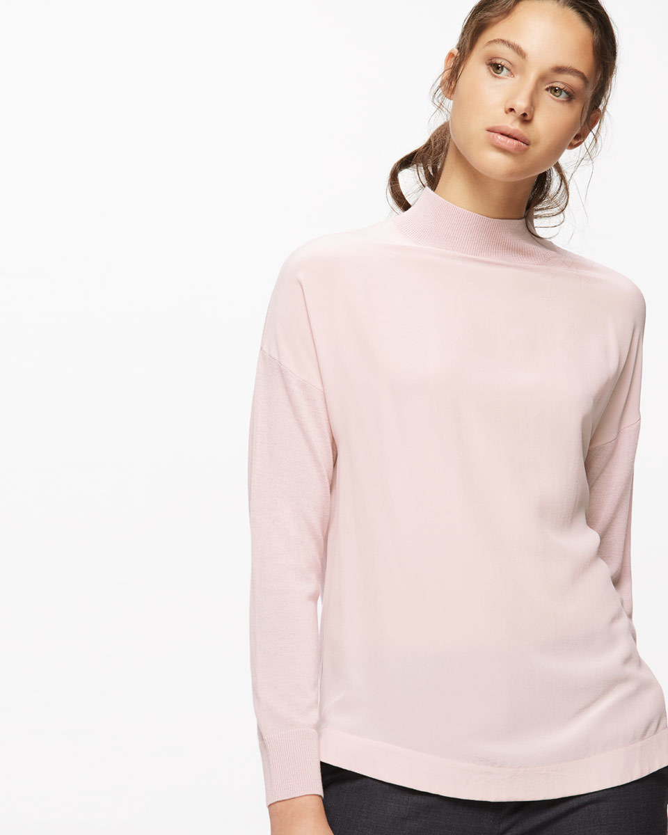 Silk Front Jumper - pattern: plain; neckline: high neck; predominant colour: blush; occasions: casual; length: standard; style: top; fibres: silk - mix; fit: body skimming; sleeve length: long sleeve; sleeve style: standard; texture group: silky - light; pattern type: fabric; wardrobe: basic; season: a/w 2016