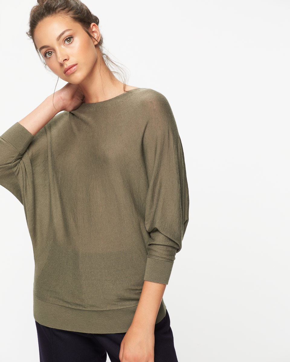 Boat Neck Batwing Jumper - sleeve style: dolman/batwing; pattern: plain; predominant colour: khaki; occasions: casual, creative work; length: standard; style: top; fit: loose; neckline: crew; sleeve length: 3/4 length; texture group: knits/crochet; pattern type: knitted - fine stitch; fibres: viscose/rayon - mix; wardrobe: basic; season: a/w 2016