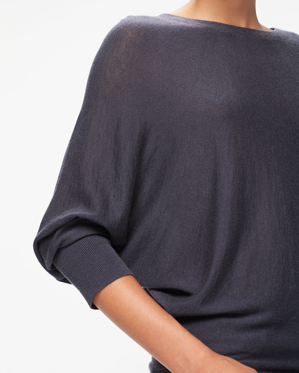 Boat Neck Batwing Jumper - neckline: round neck; sleeve style: dolman/batwing; pattern: plain; predominant colour: charcoal; occasions: casual, work, creative work; length: standard; style: top; fit: loose; sleeve length: 3/4 length; texture group: knits/crochet; pattern type: knitted - fine stitch; fibres: viscose/rayon - mix; wardrobe: basic; season: a/w 2016