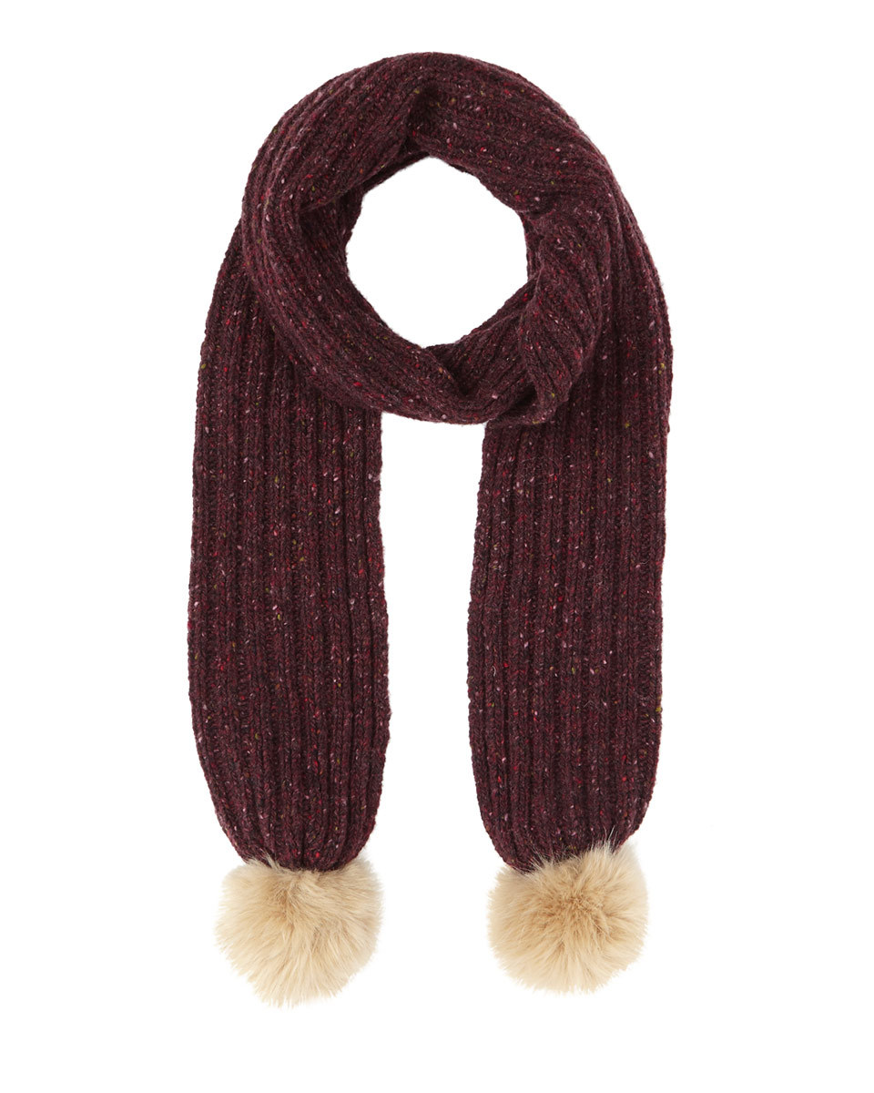 Hana Donegal Pom Pom Scarf - predominant colour: aubergine; occasions: casual; type of pattern: standard; style: regular; size: standard; material: knits; embellishment: pompom; pattern: colourblock; season: a/w 2016; wardrobe: highlight