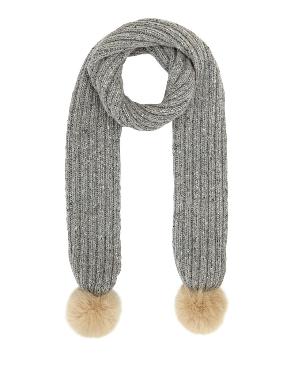 Hana Donegal Pom Pom Scarf - predominant colour: mid grey; occasions: casual; type of pattern: standard; style: regular; size: standard; material: knits; embellishment: pompom; pattern: plain; season: a/w 2016; wardrobe: highlight