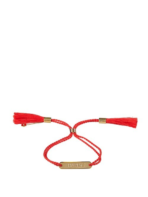 Happy Bracelet - predominant colour: true red; secondary colour: gold; occasions: casual, creative work; style: friendship/tie; size: standard; material: fabric/cotton; finish: plain; embellishment: chain/metal; season: a/w 2016; wardrobe: highlight