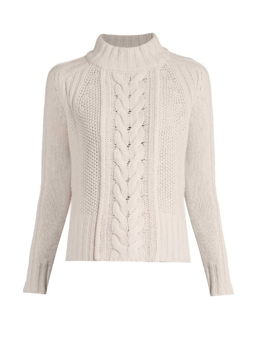 Dingo Sweater - neckline: roll neck; style: standard; pattern: cable knit; predominant colour: white; occasions: casual; length: standard; fibres: wool - 100%; fit: standard fit; sleeve length: long sleeve; sleeve style: standard; texture group: knits/crochet; pattern type: knitted - other; season: a/w 2016; wardrobe: highlight