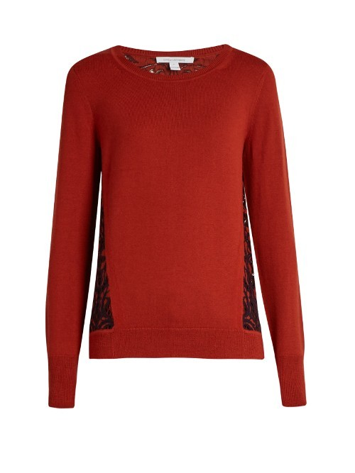 Anaya Sweater - style: standard; predominant colour: true red; occasions: casual; length: standard; fibres: wool - 100%; fit: standard fit; neckline: crew; sleeve length: long sleeve; sleeve style: standard; texture group: knits/crochet; pattern type: knitted - fine stitch; pattern: patterned/print; season: a/w 2016; wardrobe: highlight