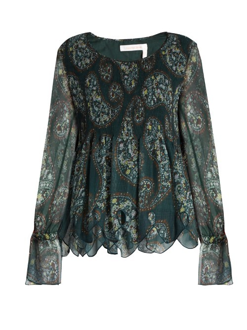 Floral Paisley Print Crinkled Georgette Top - neckline: round neck; style: blouse; sleeve style: volant; secondary colour: ivory/cream; predominant colour: dark green; length: standard; fibres: silk - mix; fit: empire; sleeve length: long sleeve; texture group: sheer fabrics/chiffon/organza etc.; pattern type: fabric; pattern size: light/subtle; pattern: patterned/print; occasions: creative work; multicoloured: multicoloured; season: a/w 2016; wardrobe: highlight