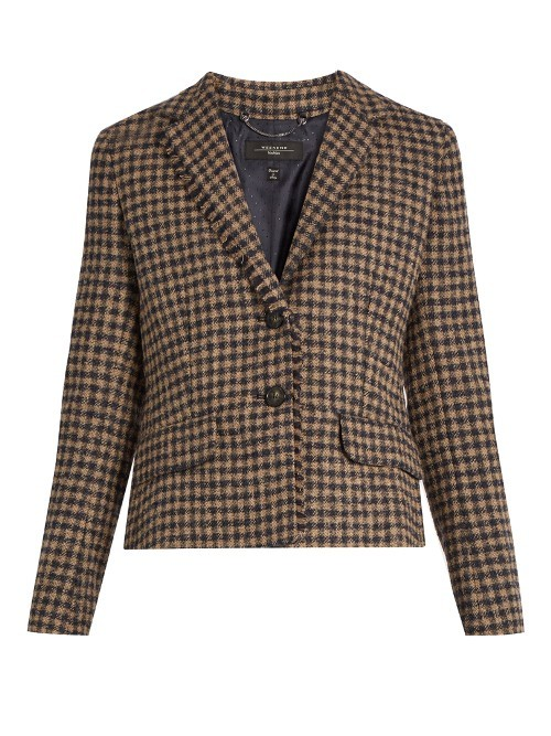 Salita Jacket - pattern: plain; style: single breasted blazer; collar: standard lapel/rever collar; secondary colour: burgundy; predominant colour: stone; occasions: casual, creative work; length: standard; fit: tailored/fitted; fibres: wool - mix; sleeve length: long sleeve; sleeve style: standard; collar break: medium; pattern type: fabric; texture group: woven light midweight; season: a/w 2016; wardrobe: highlight