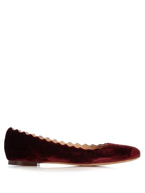 Lauren Scallop Edged Velvet Flats - predominant colour: burgundy; occasions: work, creative work; material: velvet; heel height: flat; toe: round toe; style: ballerinas / pumps; finish: plain; pattern: plain; season: a/w 2016