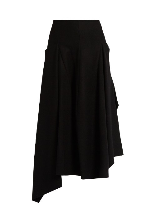 Tallone Skirt - length: below the knee; pattern: plain; style: full/prom skirt; fit: loose/voluminous; waist: high rise; predominant colour: black; fibres: wool - mix; occasions: occasion, creative work; hip detail: adds bulk at the hips; pattern type: fabric; texture group: other - light to midweight; wardrobe: basic; season: a/w 2016