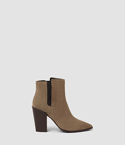 Senta Suede Boot - predominant colour: taupe; secondary colour: black; occasions: casual, work, creative work; material: suede; heel height: high; heel: block; toe: pointed toe; boot length: ankle boot; style: standard; finish: plain; pattern: plain; season: a/w 2016; wardrobe: highlight