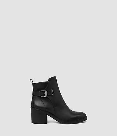 Meera Ankle Boot - predominant colour: black; occasions: casual, creative work; material: leather; heel height: high; embellishment: buckles; heel: block; toe: round toe; boot length: ankle boot; style: standard; finish: plain; pattern: plain; season: a/w 2016; wardrobe: highlight