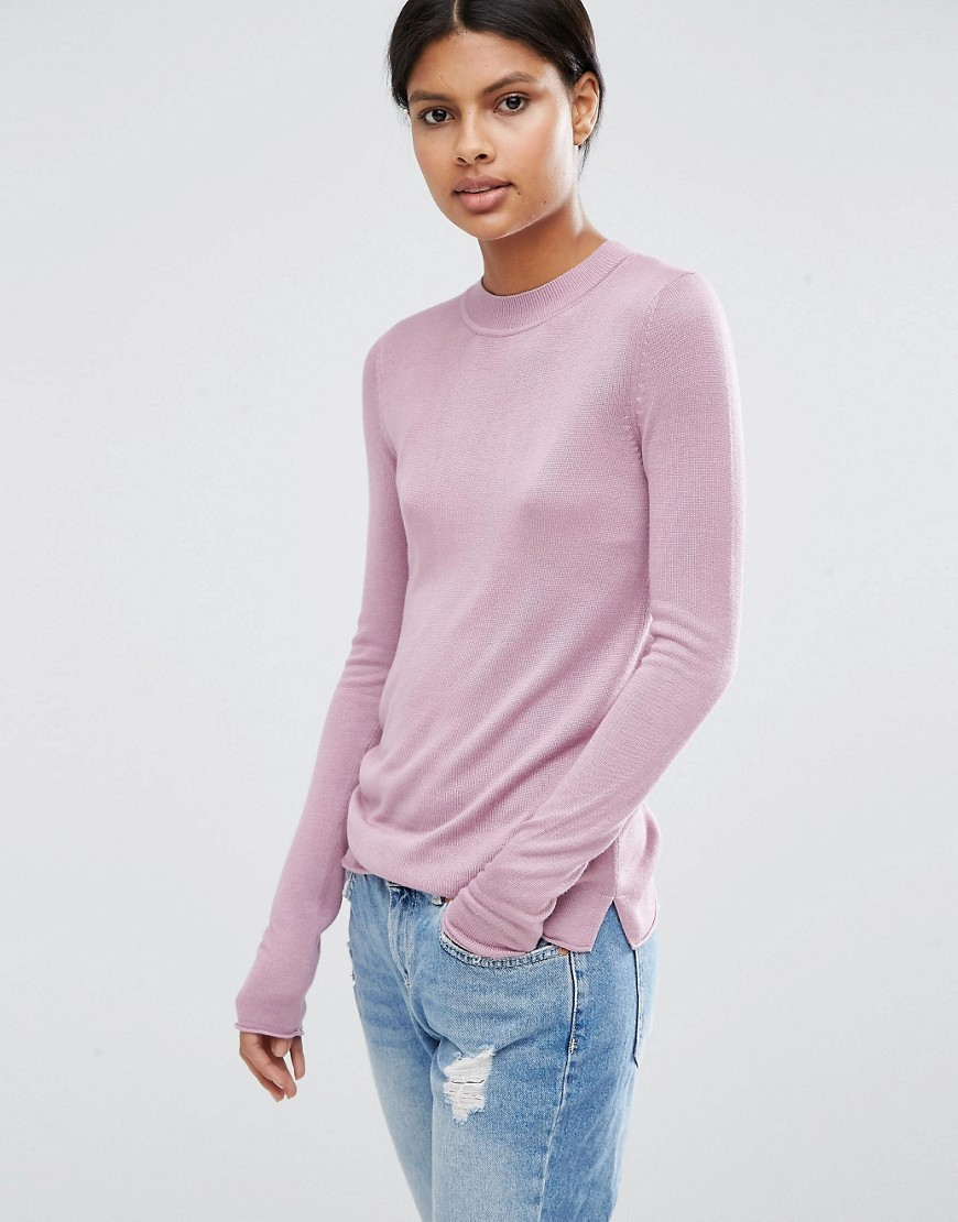 Jumper With Crew Neck In Soft Yarn Lilac - pattern: plain; style: standard; predominant colour: blush; occasions: casual; length: standard; fibres: viscose/rayon - 100%; fit: slim fit; neckline: crew; sleeve length: long sleeve; sleeve style: standard; texture group: knits/crochet; pattern type: knitted - fine stitch; season: a/w 2016
