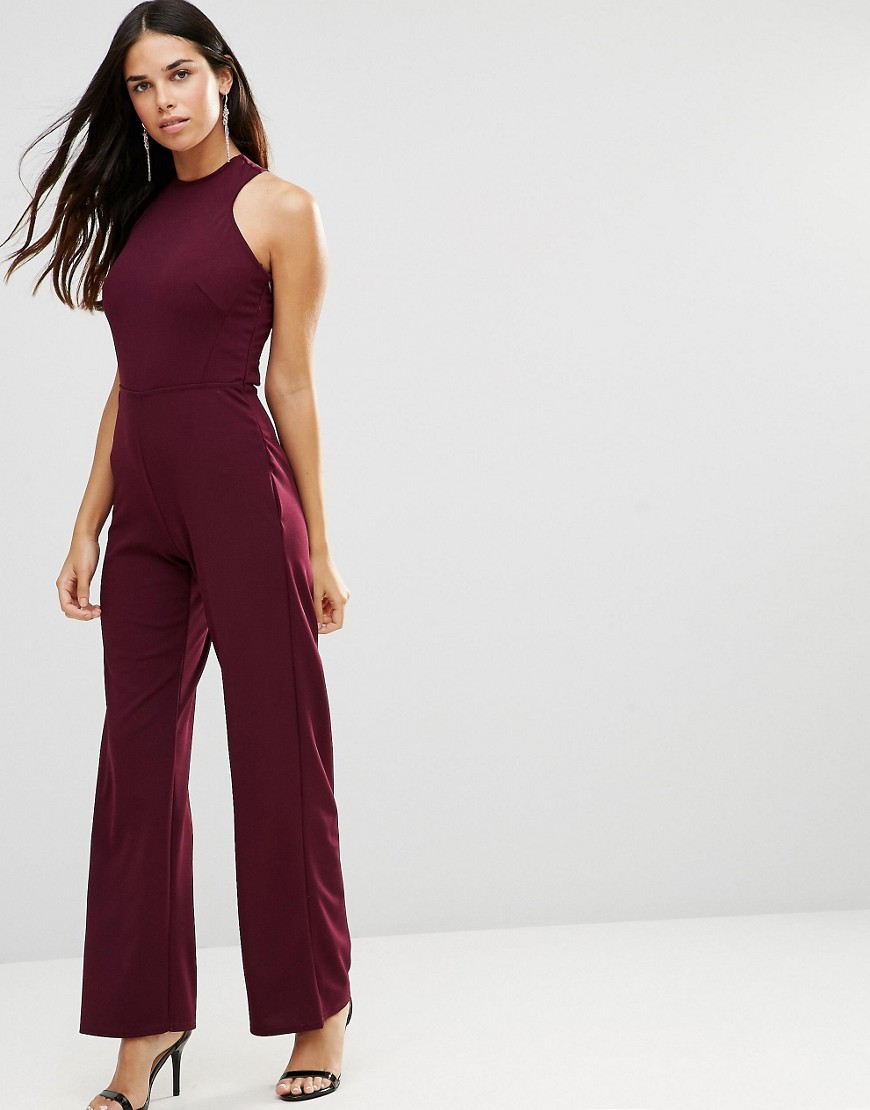 Strappy Jumpsuit With Strappy Back Burgandy - length: standard; fit: tailored/fitted; pattern: plain; sleeve style: sleeveless; predominant colour: burgundy; occasions: evening, occasion; fibres: polyester/polyamide - stretch; neckline: crew; sleeve length: sleeveless; style: jumpsuit; pattern type: fabric; texture group: other - light to midweight; season: a/w 2016
