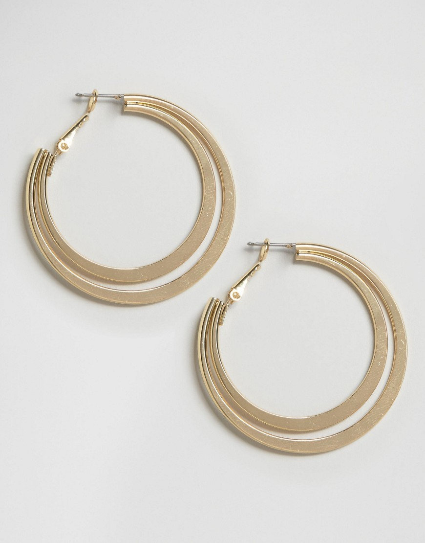 Double Hoop Earrings Gold - predominant colour: gold; occasions: casual; style: hoop; length: mid; size: large/oversized; material: chain/metal; fastening: pierced; finish: plain; wardrobe: basic; season: a/w 2016