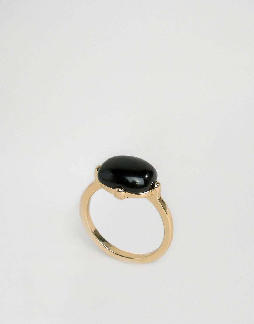 Doreen Ring Gold - predominant colour: gold; secondary colour: black; occasions: casual; style: cocktail; size: standard; material: chain/metal; finish: metallic; embellishment: jewels/stone; multicoloured: multicoloured; season: a/w 2016; wardrobe: highlight