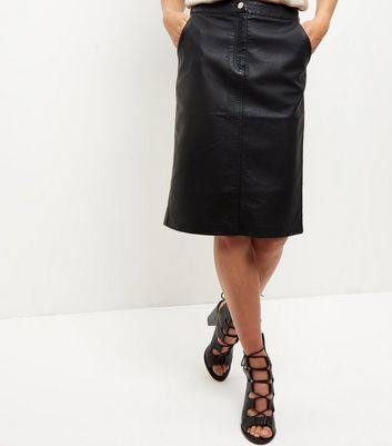 Black Leather Look Zip Front Midi Skirt - pattern: plain; style: pencil; fit: tailored/fitted; waist: high rise; predominant colour: black; occasions: evening, creative work; length: on the knee; fibres: polyester/polyamide - 100%; texture group: leather; pattern type: fabric; season: a/w 2016; wardrobe: highlight