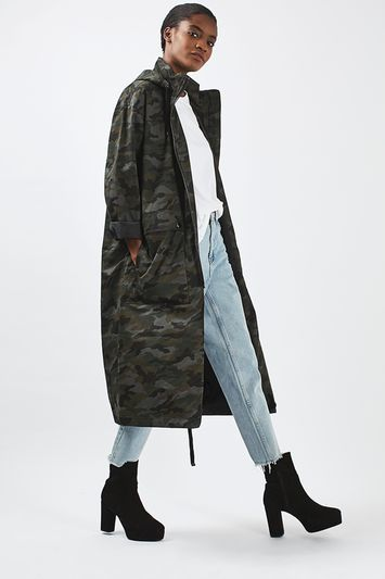Camo Parka - collar: funnel; fit: loose; style: parka; length: calf length; secondary colour: dark green; predominant colour: khaki; occasions: casual; fibres: cotton - 100%; sleeve length: long sleeve; sleeve style: standard; texture group: cotton feel fabrics; collar break: high; pattern type: fabric; pattern size: standard; pattern: animal print; season: a/w 2016; trends: military