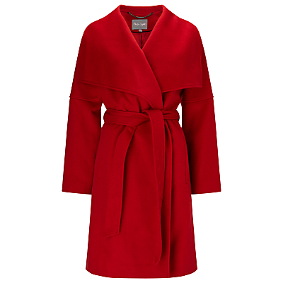 Bruna Belted Coat, Red - pattern: plain; collar: wide lapels; fit: loose; length: on the knee; style: wrap around; predominant colour: true red; occasions: casual; fibres: wool - mix; waist detail: belted waist/tie at waist/drawstring; sleeve length: long sleeve; sleeve style: standard; collar break: medium; pattern type: fabric; texture group: woven bulky/heavy; season: a/w 2016; wardrobe: highlight