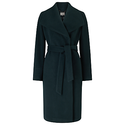 Nicci Belted Coat, Dark Forest - pattern: plain; collar: wide lapels; fit: loose; length: on the knee; style: wrap around; predominant colour: dark green; occasions: casual; fibres: wool - mix; waist detail: belted waist/tie at waist/drawstring; sleeve length: long sleeve; sleeve style: standard; collar break: medium; pattern type: fabric; texture group: woven bulky/heavy; season: a/w 2016; wardrobe: highlight