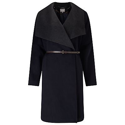 Bruna Belted Coat, Navy/Charcoal - pattern: plain; collar: wide lapels; fit: loose; length: on the knee; style: wrap around; predominant colour: navy; secondary colour: charcoal; occasions: casual; fibres: wool - mix; waist detail: belted waist/tie at waist/drawstring; sleeve length: long sleeve; sleeve style: standard; collar break: medium; pattern type: fabric; texture group: other - bulky/heavy; multicoloured: multicoloured; season: a/w 2016