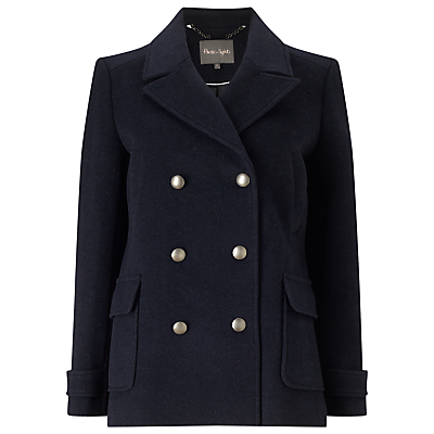 Pippa Pea Coat, Navy - pattern: plain; length: standard; style: double breasted; collar: standard lapel/rever collar; predominant colour: navy; occasions: casual; fit: straight cut (boxy); fibres: polyester/polyamide - mix; sleeve length: long sleeve; sleeve style: standard; collar break: medium; pattern type: fabric; texture group: woven bulky/heavy; wardrobe: basic; season: a/w 2016