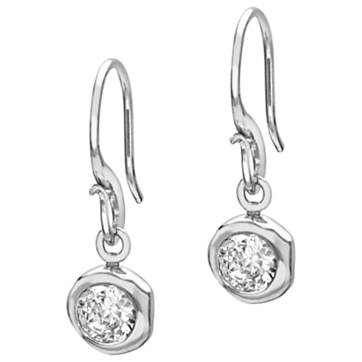 Sterling Silver White Topaz Dewdrop Earrings, Silver - predominant colour: silver; occasions: evening, occasion; style: drop; length: short; size: standard; material: chain/metal; fastening: pierced; finish: metallic; embellishment: crystals/glass; season: a/w 2016