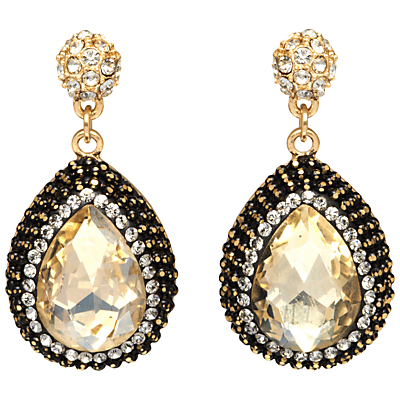 Pave Set Teardrop Earrings - predominant colour: gold; secondary colour: black; occasions: evening, occasion; style: drop; length: mid; size: large/oversized; material: chain/metal; fastening: pierced; finish: metallic; embellishment: crystals/glass; season: a/w 2016; wardrobe: event