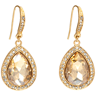 Pave Set Teardrop Hook Earrings, Gold/Citrine - predominant colour: gold; occasions: evening, occasion; style: drop; length: mid; size: standard; material: chain/metal; fastening: pierced; finish: metallic; embellishment: jewels/stone; season: a/w 2016; wardrobe: event