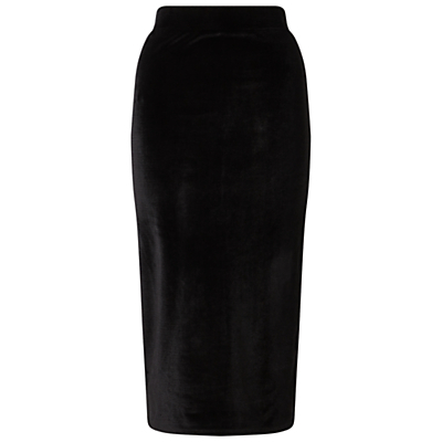 Velvet Split Midi Skirt, Black - length: below the knee; pattern: plain; style: pencil; fit: tight; hip detail: draws attention to hips; waist: mid/regular rise; predominant colour: black; occasions: evening; fibres: polyester/polyamide - stretch; pattern type: fabric; texture group: velvet/fabrics with pile; season: a/w 2016; wardrobe: event