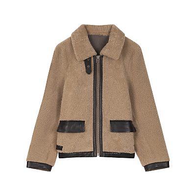 Cocon Sheepskin Coat, Coffee - pattern: plain; length: standard; style: single breasted; predominant colour: camel; occasions: casual; fit: straight cut (boxy); fibres: sheepskin - 100%; collar: shirt collar/peter pan/zip with opening; sleeve length: long sleeve; sleeve style: standard; collar break: high; pattern type: fabric; texture group: sheepskin; season: a/w 2016