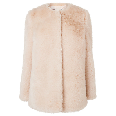 Evane Faux Fur Coat, Oatmeal - pattern: plain; length: standard; collar: round collar/collarless; fit: loose; predominant colour: blush; occasions: casual; fibres: acrylic - mix; style: fur coat; sleeve length: long sleeve; sleeve style: standard; texture group: leather; collar break: high; pattern type: fabric; season: a/w 2016; wardrobe: highlight