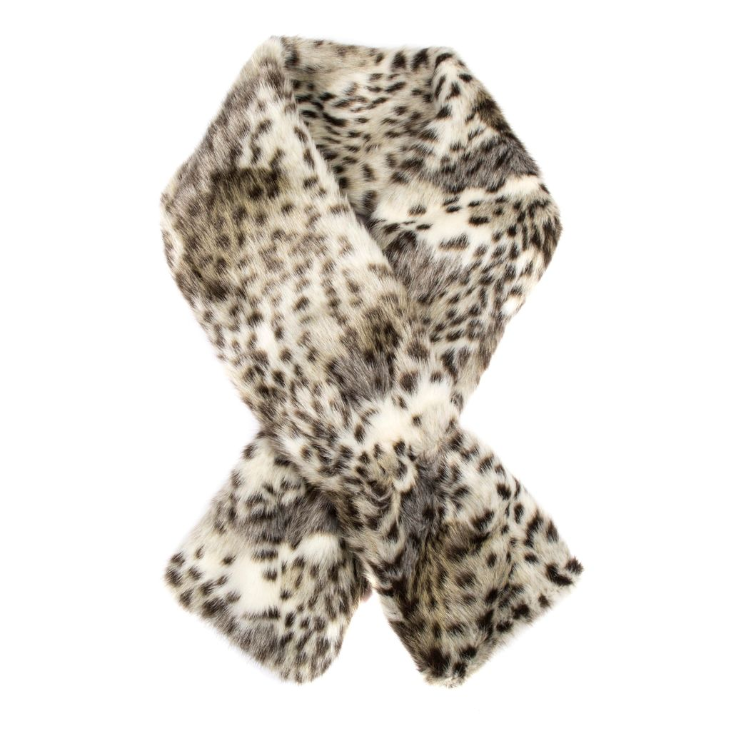 Womens Animal Print Faux Fur Scarf, Oatmeal - predominant colour: stone; occasions: casual, creative work; type of pattern: standard; size: standard; material: faux fur; pattern: animal print; style: stole; season: a/w 2016; wardrobe: highlight