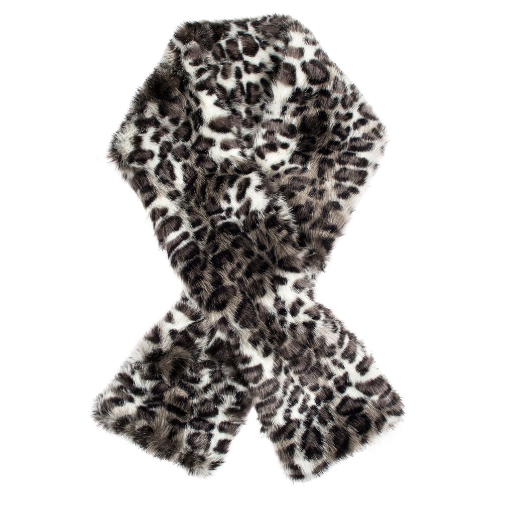 Womens Animal Print Faux Fur Scarf, Black - predominant colour: black; occasions: casual, creative work; type of pattern: heavy; size: standard; material: faux fur; pattern: animal print; style: stole; season: a/w 2016; wardrobe: highlight