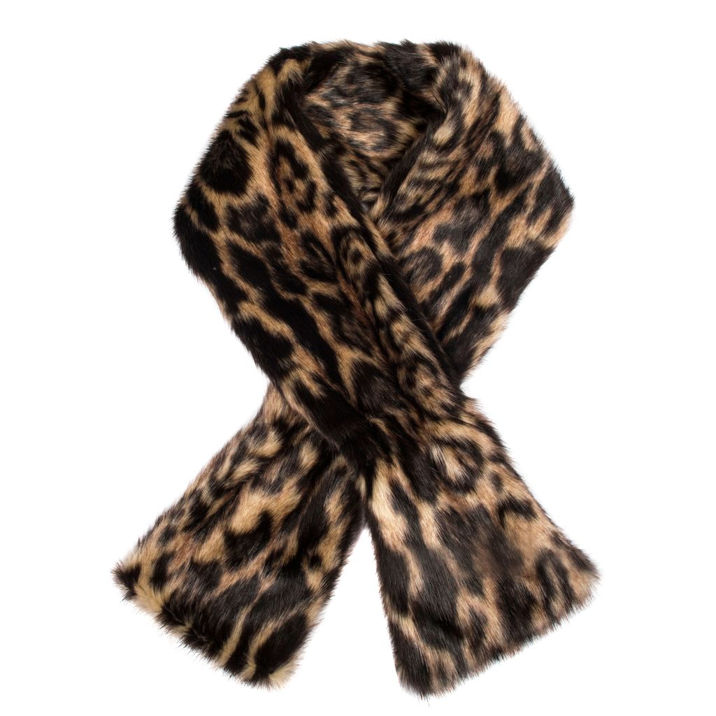 Womens Animal Print Faux Fur Scarf, Chocolate - predominant colour: chocolate brown; occasions: casual, creative work; type of pattern: heavy; size: standard; material: fur; pattern: animal print; style: stole; season: a/w 2016; wardrobe: highlight