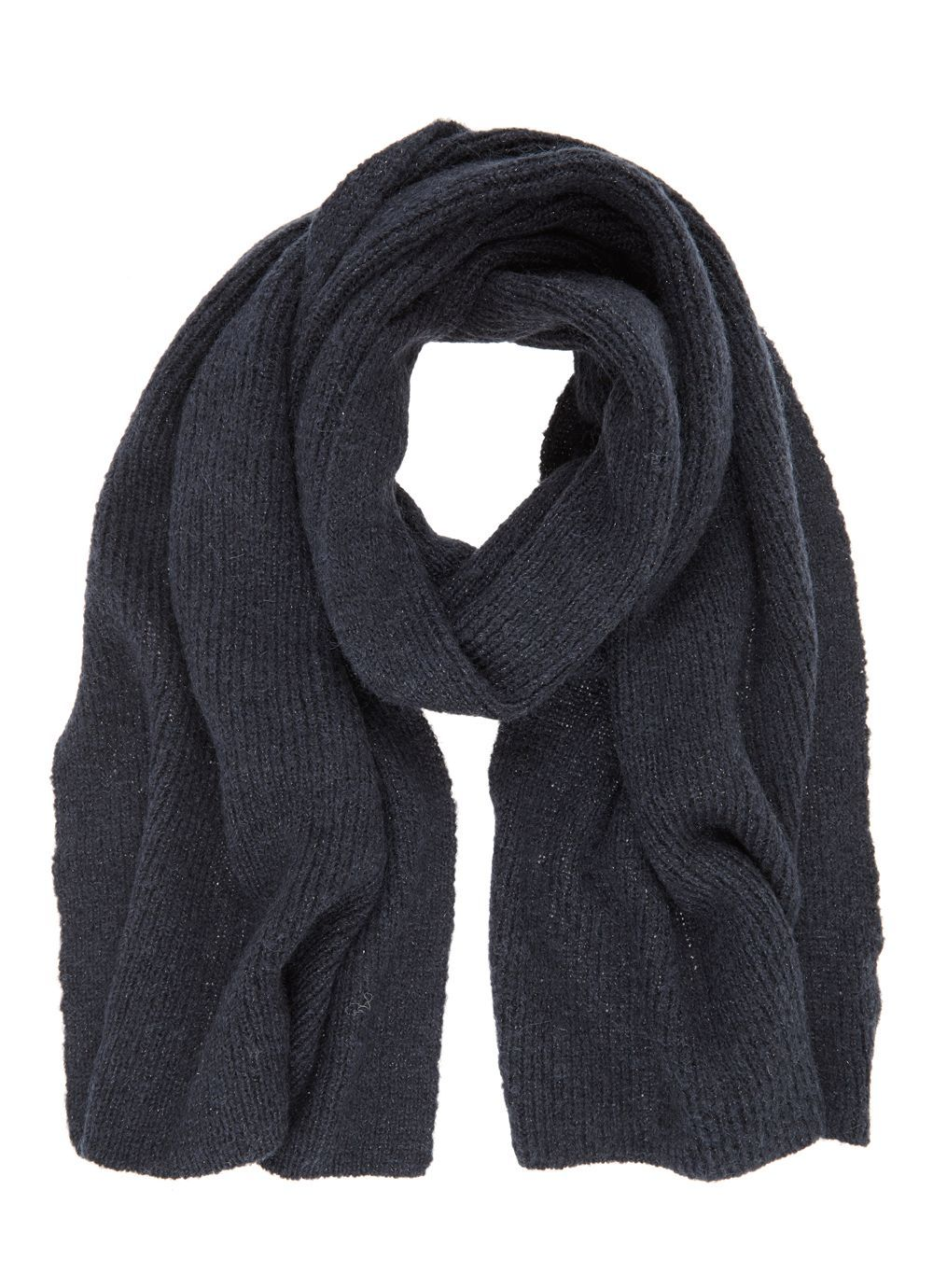 Navy Rib Knit Scarf, Blue - predominant colour: navy; occasions: casual; type of pattern: standard; style: regular; size: standard; material: knits; pattern: plain; wardrobe: basic; season: a/w 2016