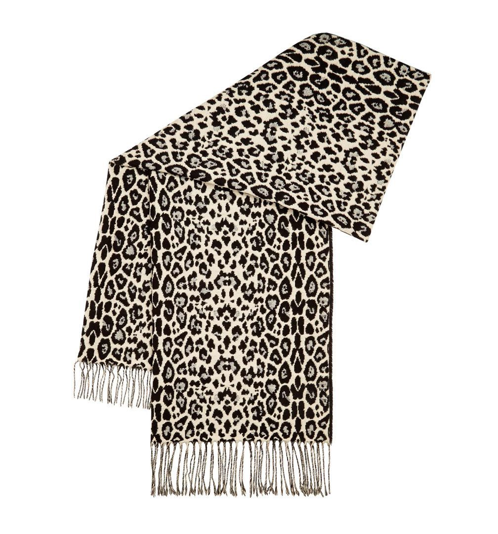Kiki Animal Scarf, Multi Coloured - predominant colour: ivory/cream; secondary colour: black; occasions: casual; type of pattern: standard; style: regular; size: standard; material: fabric; embellishment: fringing; pattern: animal print; multicoloured: multicoloured; season: a/w 2016; wardrobe: highlight