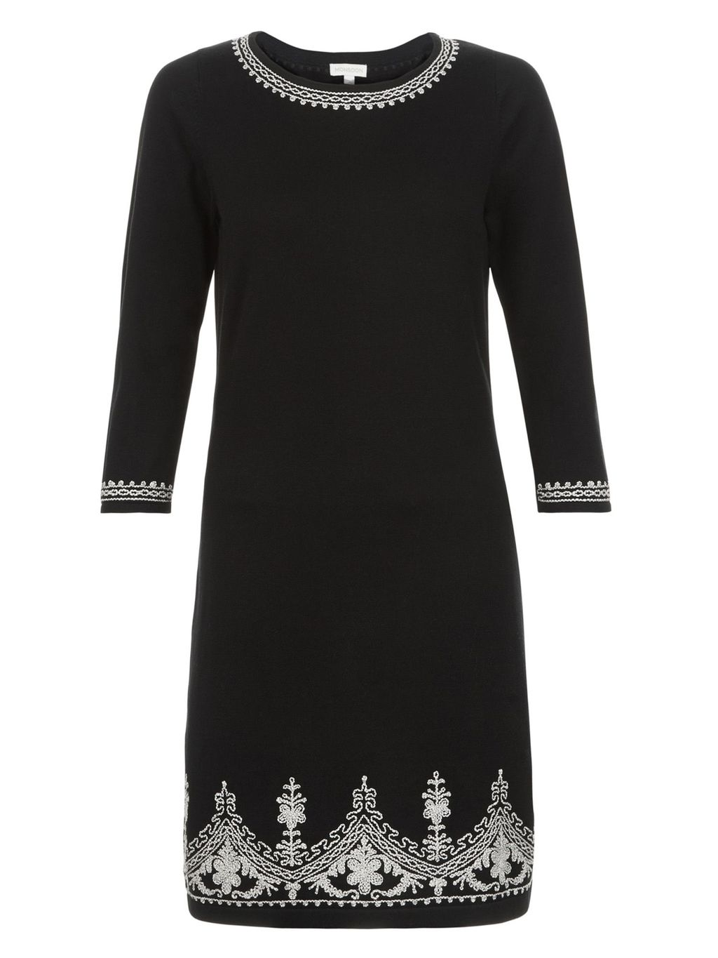 Tina Cornelli Dress, Black - style: shift; secondary colour: white; predominant colour: black; occasions: evening; length: just above the knee; fit: body skimming; fibres: cotton - 100%; neckline: crew; sleeve length: 3/4 length; sleeve style: standard; pattern type: fabric; pattern: patterned/print; texture group: jersey - stretchy/drapey; multicoloured: multicoloured; season: a/w 2016; wardrobe: event