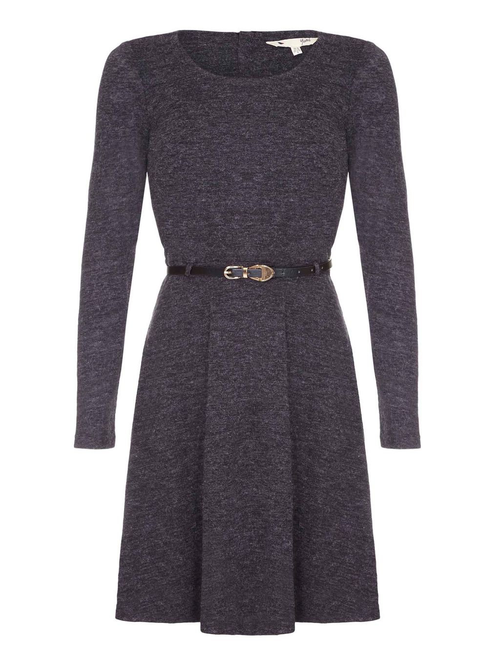 Black Knitted Belt Dress With Long Sleeves, Charcoal - pattern: plain; waist detail: belted waist/tie at waist/drawstring; predominant colour: charcoal; occasions: casual; length: just above the knee; fit: fitted at waist & bust; style: fit & flare; fibres: polyester/polyamide - stretch; neckline: crew; sleeve length: long sleeve; sleeve style: standard; texture group: knits/crochet; pattern type: fabric; wardrobe: basic; season: a/w 2016