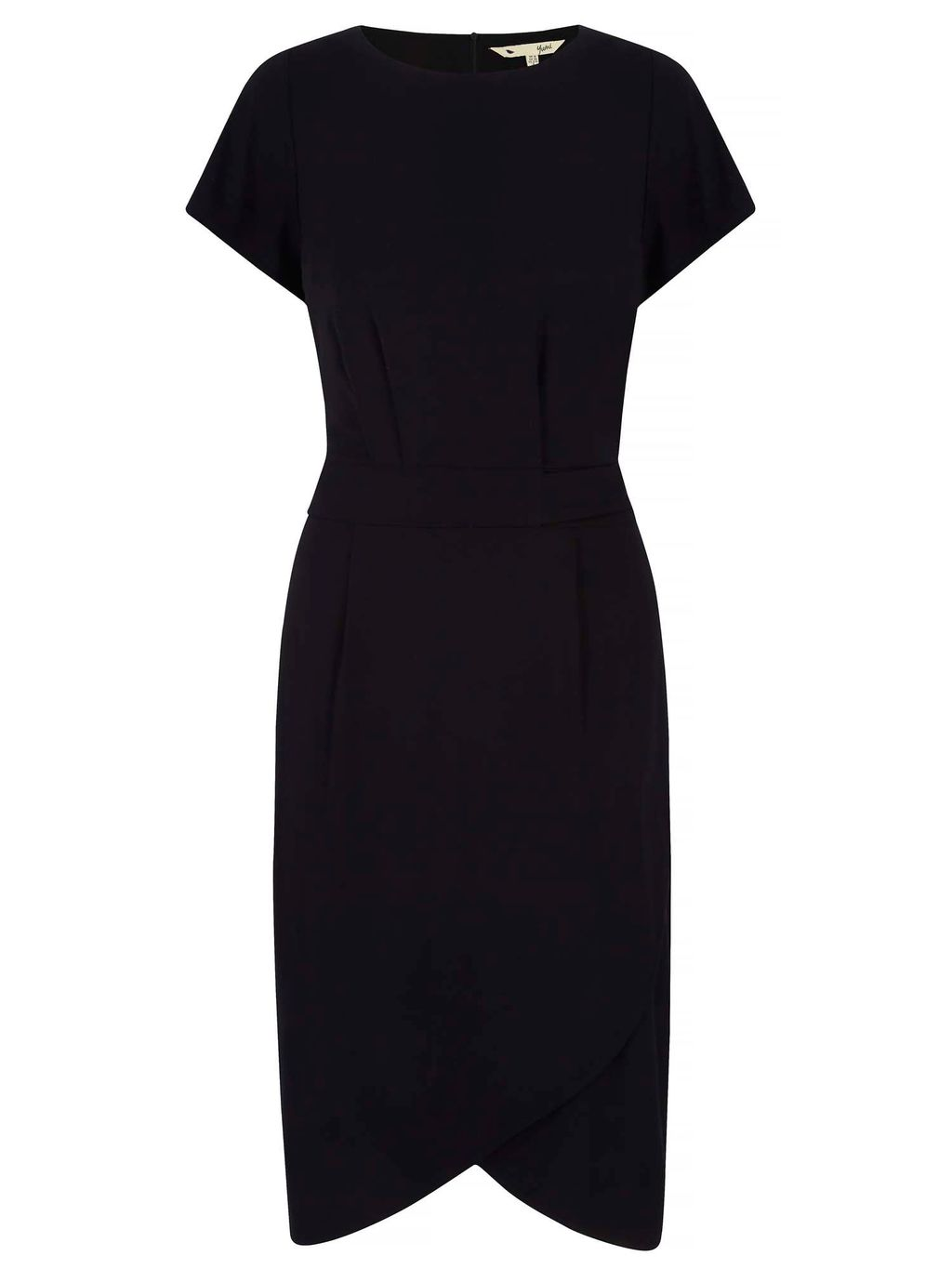 Jersey Wrap Front Dress, Black - style: shift; length: below the knee; neckline: v-neck; pattern: plain; predominant colour: black; occasions: evening; fit: body skimming; fibres: viscose/rayon - stretch; sleeve length: short sleeve; sleeve style: standard; pattern type: fabric; texture group: jersey - stretchy/drapey; season: a/w 2016; wardrobe: event