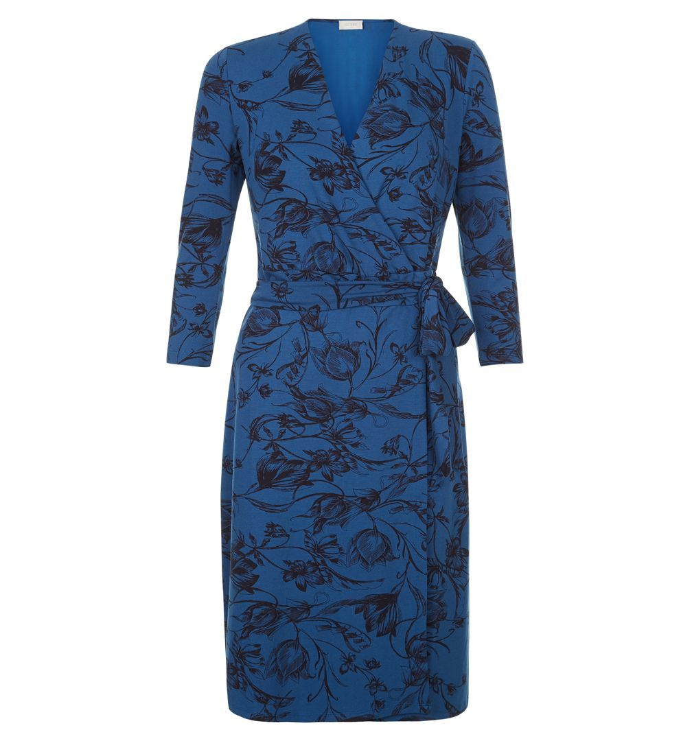 Joyce Floral Dress, Blue - style: faux wrap/wrap; neckline: v-neck; waist detail: belted waist/tie at waist/drawstring; predominant colour: royal blue; secondary colour: black; occasions: evening; length: just above the knee; fit: body skimming; fibres: viscose/rayon - stretch; sleeve length: 3/4 length; sleeve style: standard; pattern type: fabric; pattern size: big & busy; pattern: florals; texture group: jersey - stretchy/drapey; multicoloured: multicoloured; season: a/w 2016; wardrobe: event