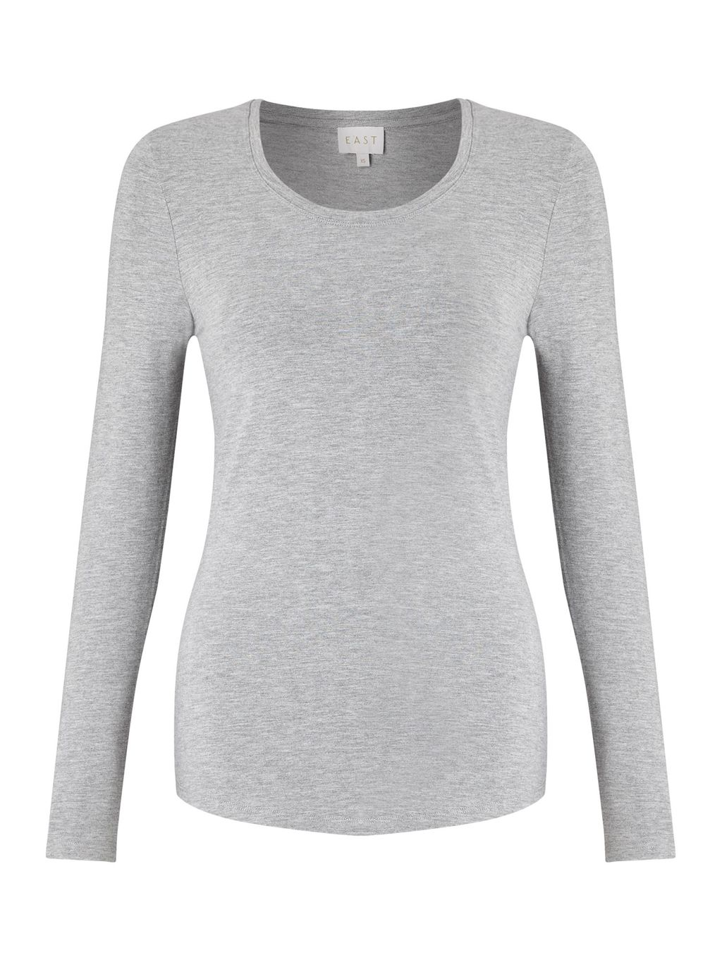 Long Sleeve Jersey Top, Grey - pattern: plain; predominant colour: light grey; occasions: casual; length: standard; style: top; fibres: viscose/rayon - stretch; fit: body skimming; neckline: crew; sleeve length: long sleeve; sleeve style: standard; pattern type: fabric; texture group: jersey - stretchy/drapey; season: a/w 2016