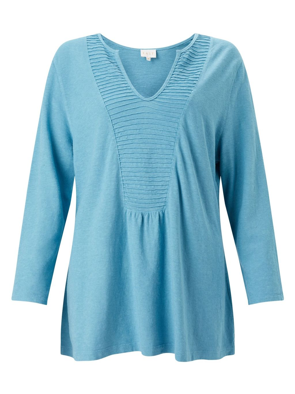 Pintuck Yoke Top, Blue - neckline: v-neck; pattern: plain; predominant colour: pale blue; occasions: casual, creative work; length: standard; style: top; fibres: cotton - mix; fit: loose; sleeve length: 3/4 length; sleeve style: standard; pattern type: fabric; texture group: jersey - stretchy/drapey; season: a/w 2016; wardrobe: highlight