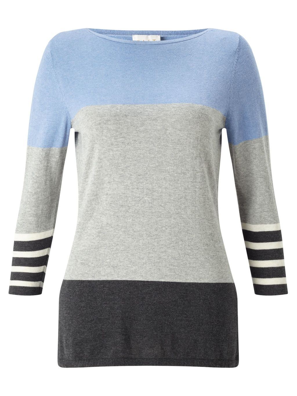 Colourblock Knit Top, Multi Coloured - pattern: horizontal stripes; predominant colour: pale blue; secondary colour: light grey; occasions: casual; length: standard; style: top; fibres: cotton - 100%; fit: body skimming; neckline: crew; sleeve length: 3/4 length; sleeve style: standard; texture group: knits/crochet; pattern type: knitted - fine stitch; multicoloured: multicoloured; season: a/w 2016; wardrobe: highlight