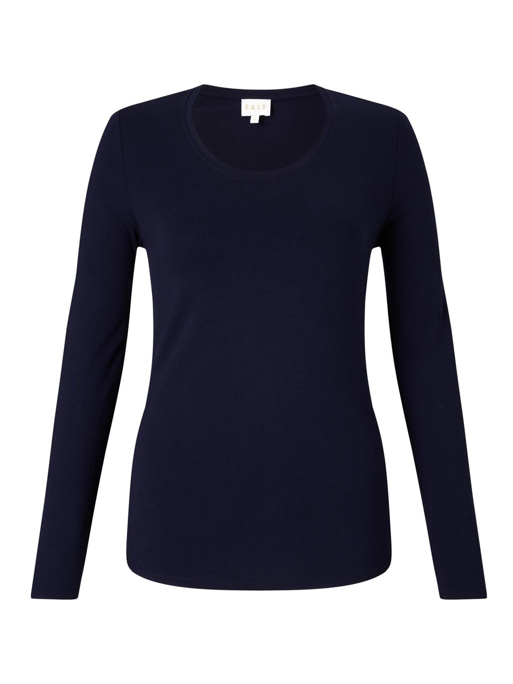 Long Sleeve Jersey Top, Blue - pattern: plain; predominant colour: navy; occasions: casual; length: standard; style: top; fibres: viscose/rayon - stretch; fit: body skimming; neckline: crew; sleeve length: long sleeve; sleeve style: standard; pattern type: fabric; texture group: jersey - stretchy/drapey; wardrobe: basic; season: a/w 2016