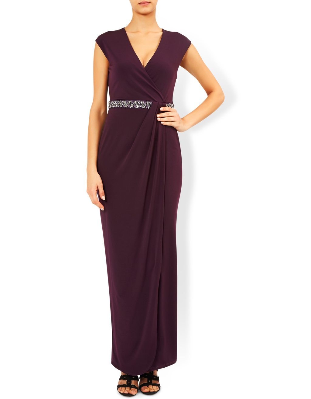 Adrianna Embellished Maxi Dress - neckline: low v-neck; sleeve style: capped; pattern: plain; style: maxi dress; length: ankle length; waist detail: embellishment at waist/feature waistband; predominant colour: aubergine; occasions: evening; fit: body skimming; fibres: polyester/polyamide - stretch; sleeve length: short sleeve; pattern type: fabric; texture group: jersey - stretchy/drapey; season: a/w 2016