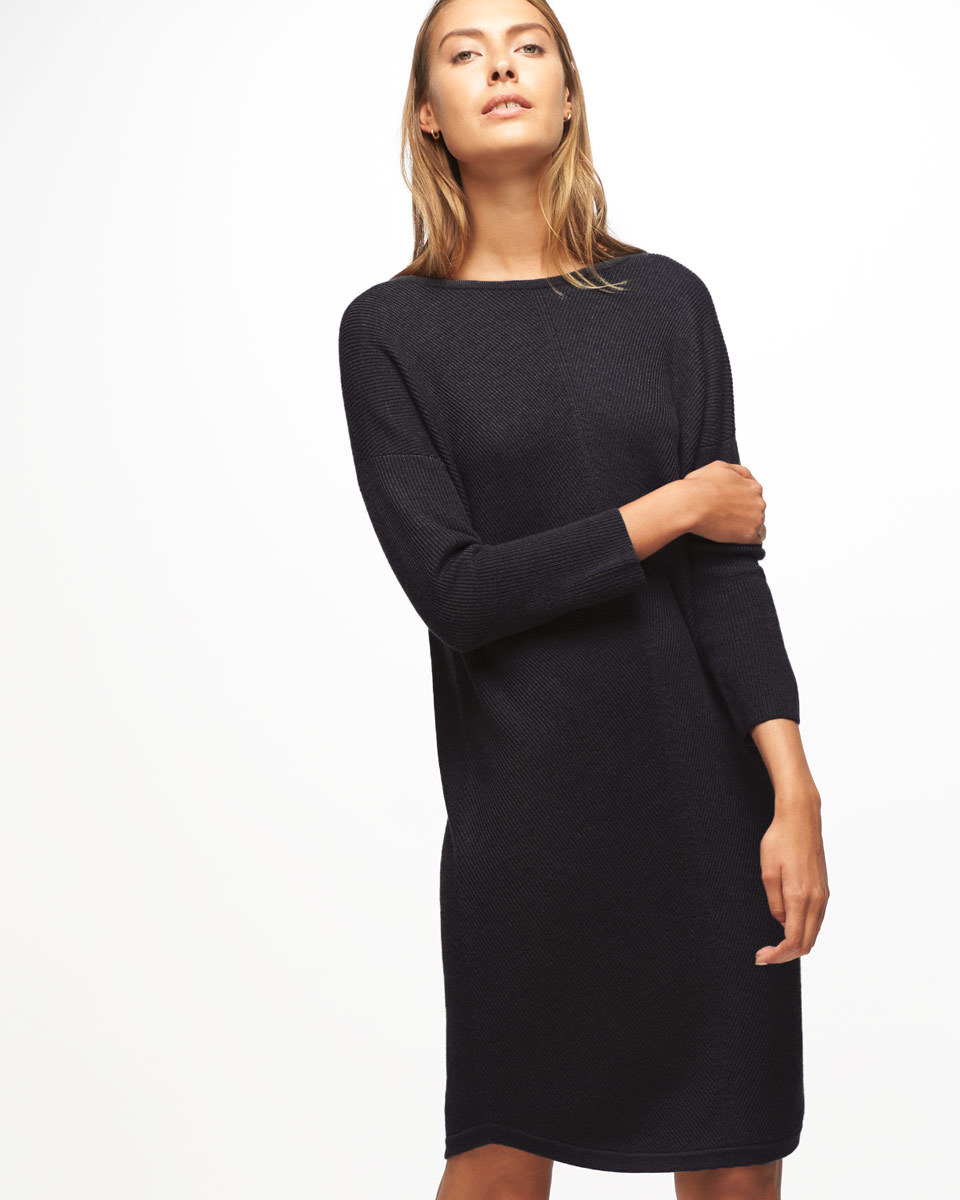 Chevron Rib Knitted Dress - style: jumper dress; fit: loose; pattern: plain; predominant colour: black; occasions: casual; length: on the knee; fibres: wool - 100%; neckline: crew; sleeve length: 3/4 length; sleeve style: standard; texture group: knits/crochet; pattern type: knitted - fine stitch; wardrobe: basic; season: a/w 2016
