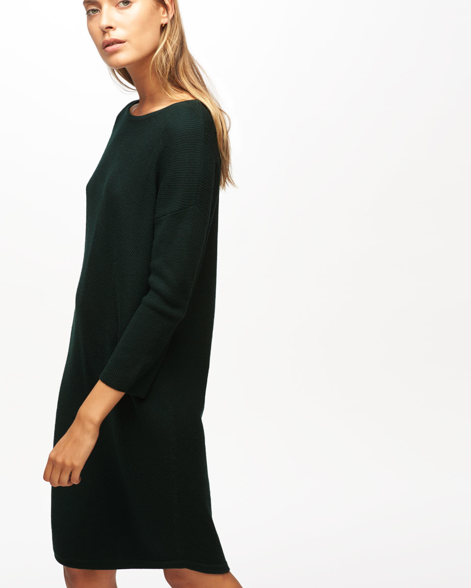 Chevron Rib Knitted Dress - style: jumper dress; fit: loose; pattern: plain; predominant colour: black; occasions: casual; length: on the knee; fibres: wool - 100%; neckline: crew; sleeve length: long sleeve; sleeve style: standard; texture group: knits/crochet; pattern type: knitted - fine stitch; season: a/w 2016