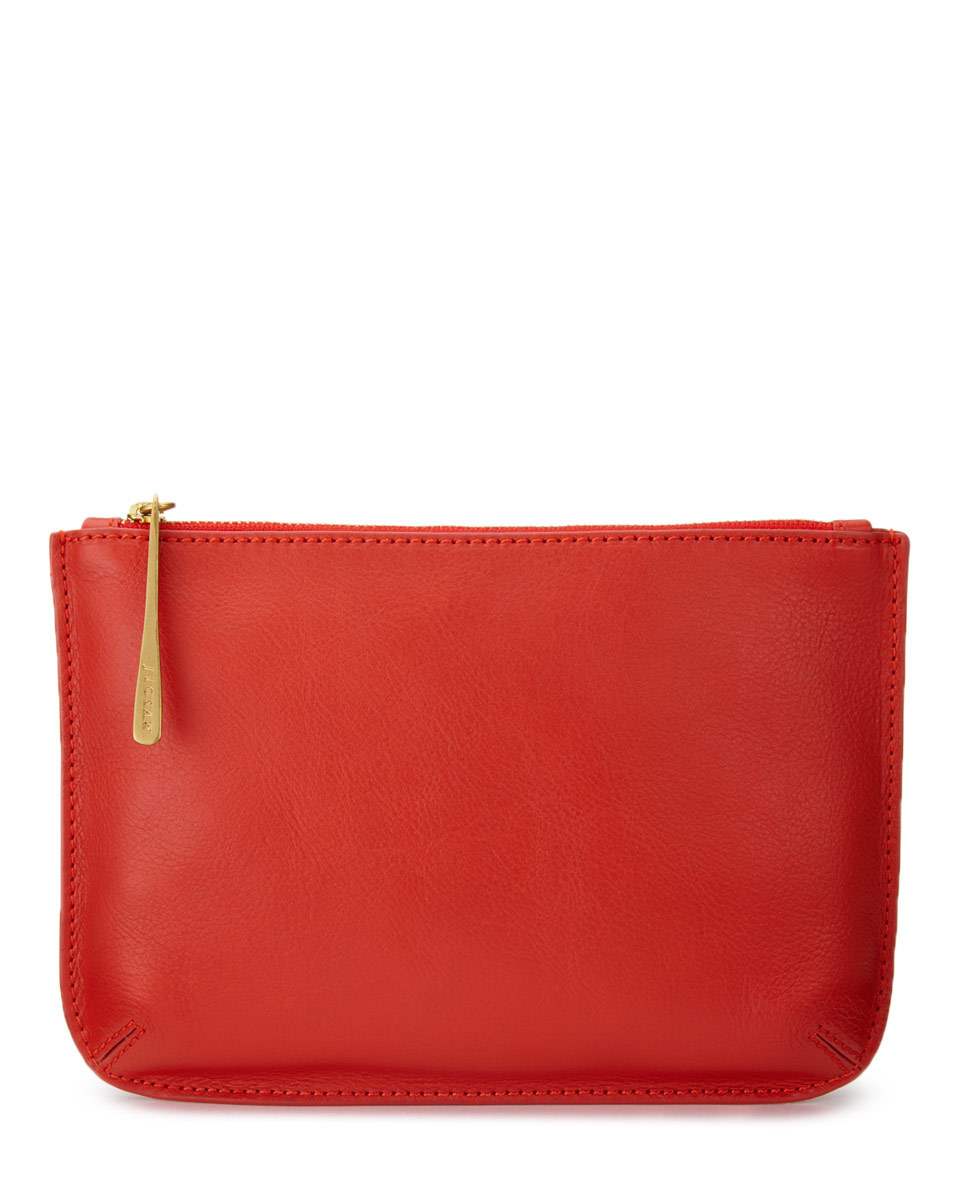 Alba Medium Leather Pouch - predominant colour: true red; occasions: casual; type of pattern: standard; style: clutch; length: hand carry; size: small; material: leather; pattern: plain; finish: plain; season: a/w 2016; wardrobe: highlight
